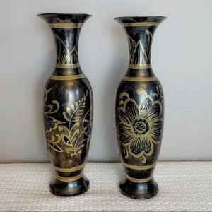 Vintage brass etched 13 inch vase set of two